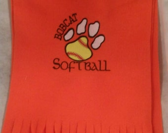 Monogrammed Bobcat softball scarf.
