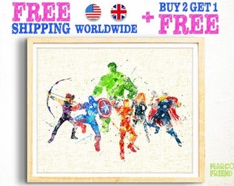 Free Shipping, Avengers Prints, Superhero Prints, Iron Man, Captain America, Thor, Hulk, Hawkeye, Watercolor Art, Wall Decor, Kids Gifts -96