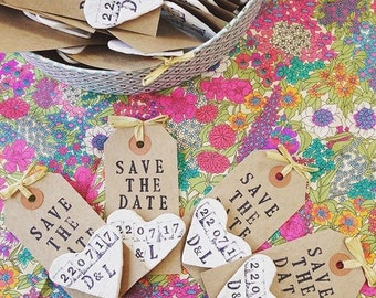 Save the Date rustic wedding heart magnets. Clay luggage tag. Shabby chic with envelopes