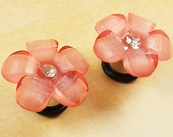 "Plugs Gauges - Die Cut Light Pink Flower Plugs - 0ga (8mm), 00ga (10mm), 7/16"" (11mm), 1/2"" (12mm), 9/16"" (14mm)"