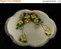Super Sale Antique-Porcelain Platter-Tray-Yellow Roses Serving Platter-M Z Austria painted by Edith Wright 1913 Platter-