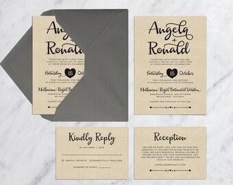 Printable Wedding Invitation Set, Kraft Wedding Invitation, Simple Modern Invitation, Modern Calligraphy Wedding Invitation