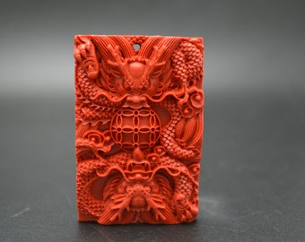 1pc Two Chinese Dragon Playing with a Bal Red Cinnabar Carved Stone Pendant Buddhist Jewelry making material