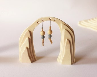 Earrings Display Little Mexico Arch, made with plywood layers for pendant earrings, bedside table, jeweler shop window set up
