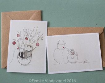 Set of 6 Christmas cards, 10,5 x 15 cm, recycled envelopes included. Printed on recycled matte paper.