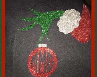 Grinch ornament shirt- christmas shirt- glitter