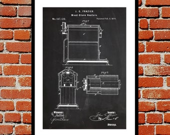 Wood Stove Patent, Wood Stove Poster, Wood Stove Blueprint,  Wood Stove Print, Wood Stove Art, Wood Stove Decor