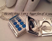 Dr Who phone booth tardis locket necklace . Custom secret note - you tell me