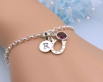 Sterling Silver Horseshoe Bracelet, Personalized Bracelet, Horseshoe Charm, Lucky Bracelet, Horse Lover Gift, Equestrian Jewelry