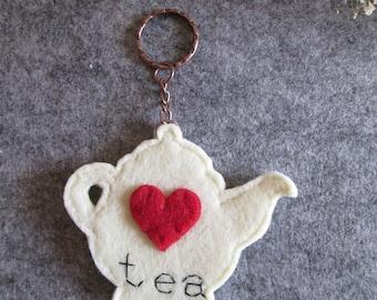 Felt Keychain with teapot and Heart