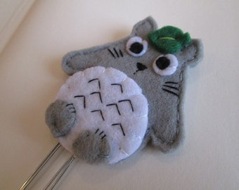 Totoro paper clip, My neighbor Totoro bookmark, Planner accessories, Planner clip, Felt Bookmark, Gift for bookworm, students, librarian