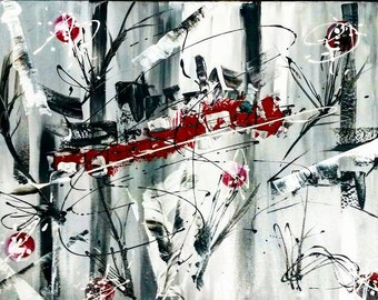 Abstract acrylic painting 60 / 80cm 23.62 inch / 31.49 inch grey, red and white