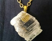 Cosmic Selenite Crystal Pendant for Healing and Positive Energy