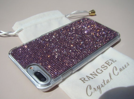 iPhone 7 Plus Case Purple Amethyst Rhinestone Crystals on Transparent Clear Case. Velvet Pouch Included, Genuine Rangsee Crystal Cases