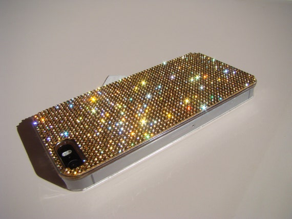 iPhone 5/5s/5se Gold Rhinestone Crystals on Transparent Case. Velvet/Silk Pouch Bag Included, Genuine Rangsee Crystal Cases.