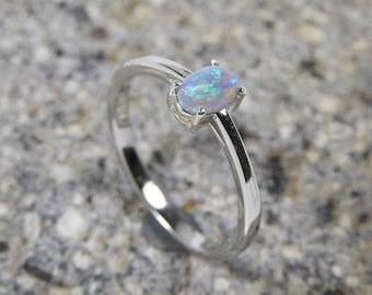 Dark Crystal Solid Lightning Ridge Opal Sterling Silver Ring.