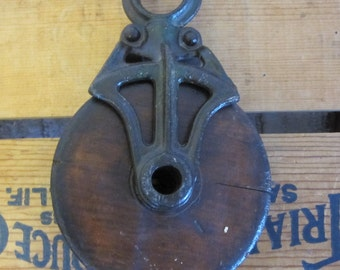 Antique Barn Pulley Wood and Iron