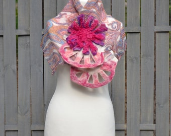 Felted  scarf collar handmade nuno felted shawl felted art OOAK nunofelted art wool scarf