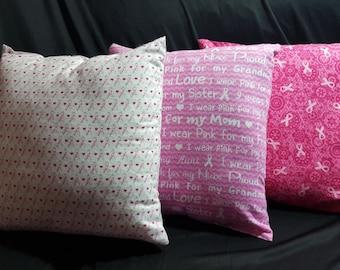 Breast Cancer Survivor Patient Awareness Pillows