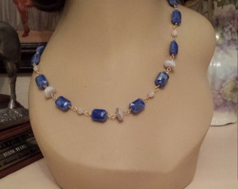 Aquamarine and artist made faceted blue class necklace