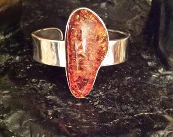 Baltic amber sterling silver cuff bracelet