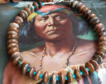 One strand beaded necklace made with turquoise and brownish green jasper