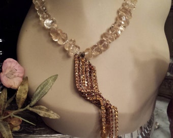 One strand faceted citrine necklace with vintage pendant