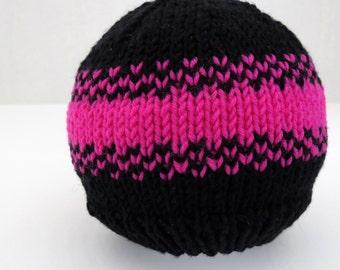 Baby beanie hat in merino wool - neon