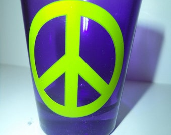 Retro 60's Peace Shot Glass