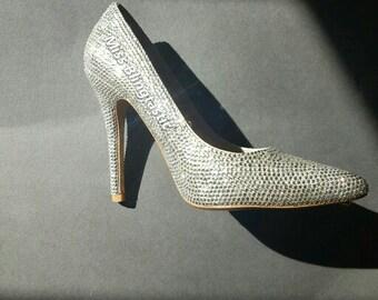 Customised Crystal Embellished High Heel Shoes