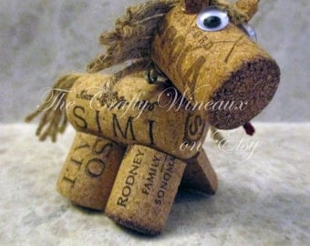 Rustic Pony, Horse Twine and Wine Cork Ornament, Christmas Ornament, Gift Tag, Wine Bottle Charm