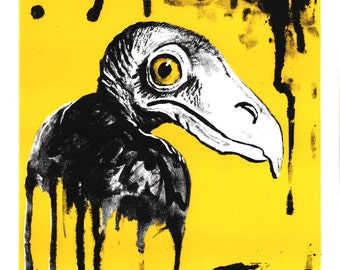 Vulture Hand Printed Screenprint