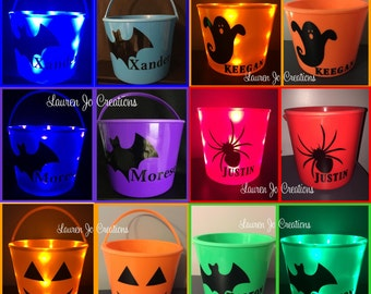 LED Light Up Halloween Bucket Basket, Candy Bag / Pail, Personalized with Name or Graphics