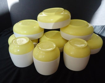 NINE Yellow & Ivory RETRO Plastic Vintage 1960's Varcon Bowls and Mugs Unbreakable