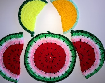 Crochet Watermelon potholders for decorative Wall hanging or practical use