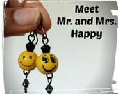 Happy Earrings | Emoji Smiley Emoticon Smily Moody Cute Weird Funny Face Copper wire Earrings | Teenager | Girlfriend gift