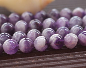 8mm of Amethyst Quartz Beads, Natural and Smooth Round Beads, 15 inch strands