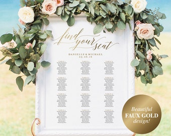Gold Wedding Seating Chart, Seating Chart Printable, Seating Chart Template, Seating Board, Wedding Sign, PDF Instant Download #BPB324_52