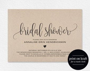 Bridal Shower Invitation, Bridal Shower Wedding Printable, Wedding Shower Template, Shower Invite, PDF Instant Download #BPB203_26