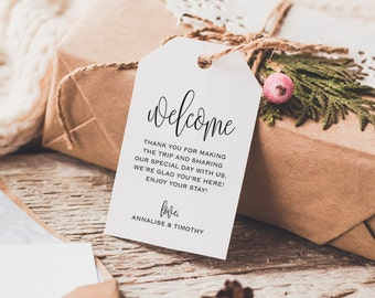 Welcome Wedding Tag, Wedding Welcome Bag Tag, Wedding Welcome Gift Tags, Welcome Tags, Welcome Bag, Favor, PDF Instant Download #BPB203_24