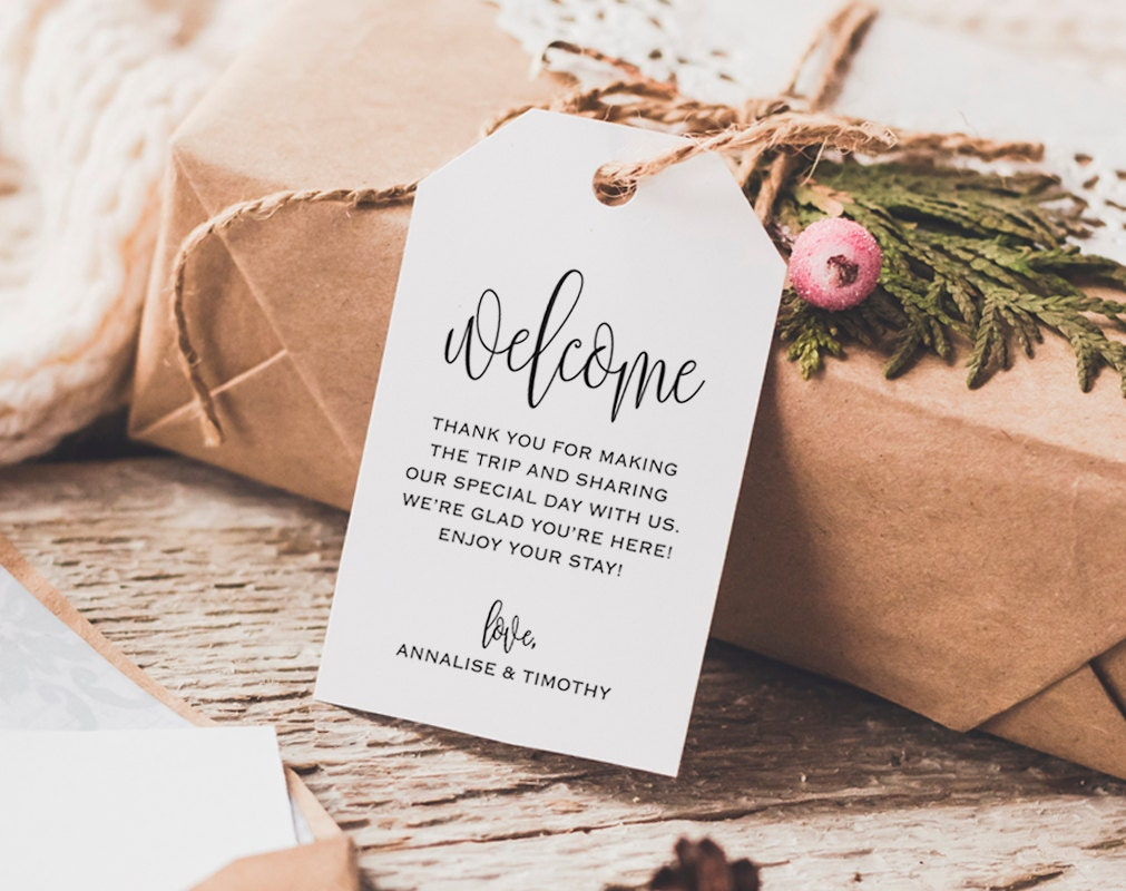 Wedding Gift Bag Notes : Welcome Wedding Tag Wedding Welcome Bag Tag Wedding Welcome