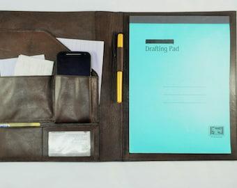 Large Leather Writing Pad, Leather Portfolio, Leather Business Folio, Handmade Business Case, Leather Pad Portfolios by Barismil.