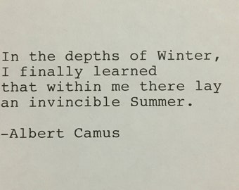 Albert Camus Quote Hand Typed Typewriter Quote - in the depths of winter