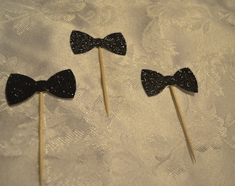 Black Glitter Bow Tie Cupcake Cake Toppers - Wedding, Birthday, Event. Set of 10