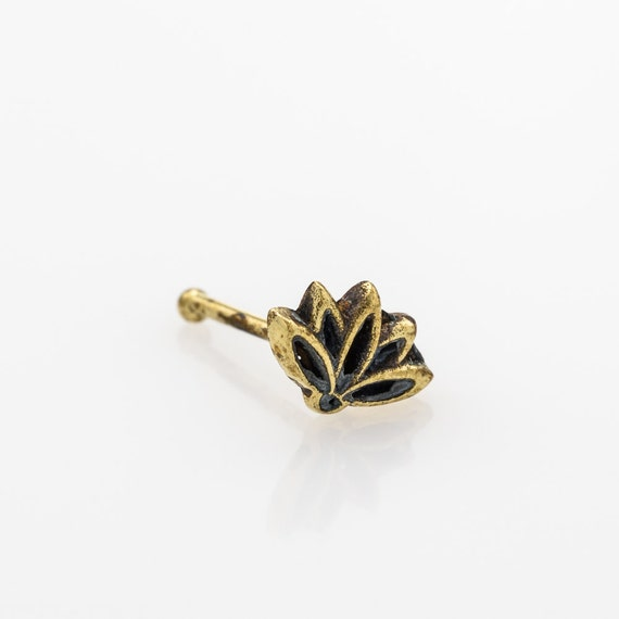 Lotus nose stud. brass nose piercing. nose jewelry. nose stud brass. flower nose stud. lotus. spiritual jewelry. indian nose stud. hippie.