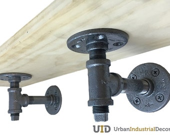 Urban Industrial Decor Pipe Shelve Brackets - Set of 2 (Straight , Hammered Pewter)