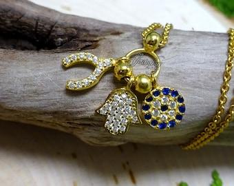 Wishbone & Hamsa Gold Crystal Charm .925 Silver Necklace