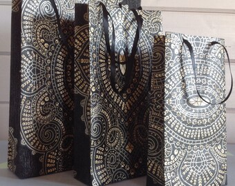 Black & gold paper gift bags, sequin effect boho giftbags, small, medium, large alternative gift bag or set of gift bags, ethnic giftbag set