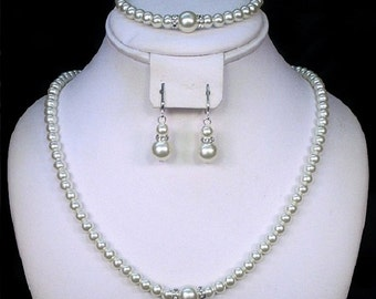 Pearl Necklace Sets With accent Breaks Rhinestone Bridal ~ Bridesmaids Jewelry