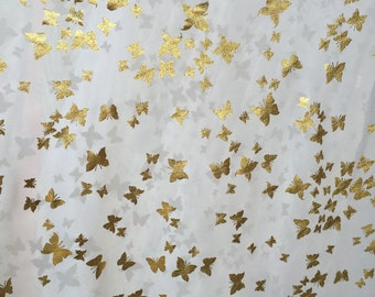 100% Poly-chiffon off white with gold leaf butterflies Fabric by the yard